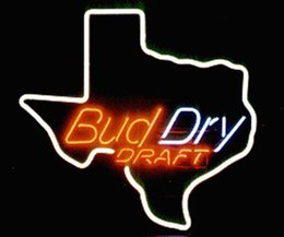 Texas Tubes online shopping - Bud Dry Draft Texas State Map Neon Sign Handcrafted Custom Real Glass Tube Bar KTV Club Pub Advertising Display Neon Signs quot X14 quot