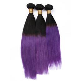 $enCountryForm.capitalKeyWord Canada - 8A Grade Ombre Brazilian Straight Hair 3 Bundles 1B Purple Ombre Brazilian Human Hair Weaves 3Pcs Lot Straight Extensions