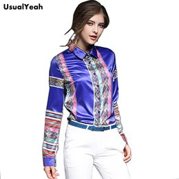 $enCountryForm.capitalKeyWord Canada - USUALYEAH 2017 Fashion Women Buttons Down Vintage Geometric Pattern Blouses Long Sleeve Casual Fashion Shirts Blue Red S - XXL