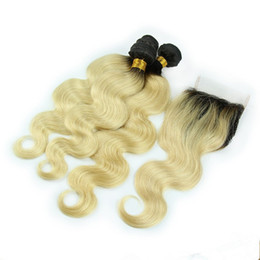 front lace closure ombre weaves Canada - Blonde Ombre Brazilian Human Hair Weave Dark Roots with Top Closure Body Wave #1B 613 Blonde Ombre 4x4 Lace Front Closure with 3Bundles