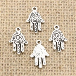 $enCountryForm.capitalKeyWord NZ - Wholesale 80pcs Charms Tibetan Silver Plated hamsa palm hand protection 14*22mm Pendant for Jewelry DIY Hand Made Fitting