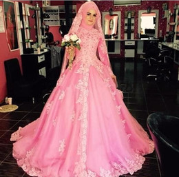 muslim wedding bridal train pictures NZ - Elegant Sweep Train Tulle Appliques 2018 Designer Ball Gown High neck Wedding Dresses Long Sleeves Muslim bridal gowns