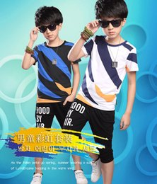 46f115574 Kids boys summer children's short-sleeved T-shirt sports suit 2018 new big  virgin boy 6-15 years old summer clothes tide