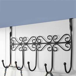 Wholesale  Iron Art Back Door Hangers Coat Towel Wall Hooks Home Bathroom Over  Door Holder Cap Clothes Bag Organizer Rack 5 Hooks 3 Color