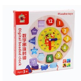 Number Blocks Australia - Wooden Clock Toys Number Letters Shapes Cognition Match Threading String Beads Block Building Animal Clock Children Learning Educational Toy
