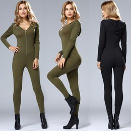 Barato Exército Verde Jumpsuit Mulheres-Atacado- Nova Stylish Plain Zipper Placket Hooded V-Neck manga comprida Jumpsuit Bodybuilding Workout Black Army Green Mulheres Jumpsuit