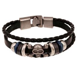 Sh Fashion UK - Fashion women men leather Multilayer statement bracelet Cool Punk Men Casual skull charm bracelets Jewelry New Style SH-S80018