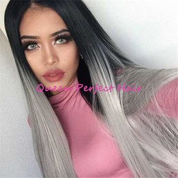 $enCountryForm.capitalKeyWord Canada - Two Tone Synthetic Lace Front Wig Gray Ombre Long Straight Grey Wigs Dark Roots Heat Resistant Fiber Hair For Fashion Black Women Hot Sale