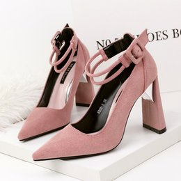 e1b17141b67d Sexy suede black chunky heel pumps pointed toe high heels women shoes ankle  strap OL office shoes 9966-5