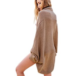 Barato Casaco De Casaco De Lã-Venda Por Atacado - New Autumn Winter Knitted Cardigan Sweater Mulheres Batwing manga Crochet Long Cardigans Wool Coat Khaki Pull Femme Loose Sweaters