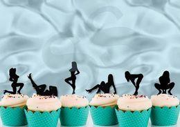 $enCountryForm.capitalKeyWord Australia - custom glitter black sexy lady cupcake toppers Bachelorette bridal baby shower toothpicks wedding birthday party decorations Party Supplies