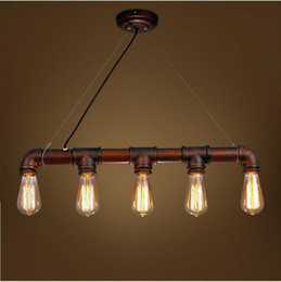Water Pipe Art Australia - 2016 new arrovals Retro Industrial Edison Bulbs 5 Heads Pendant Light Iron Water Pipe Copper Color Dining Room Bedside Cafe Shore Decor Drop
