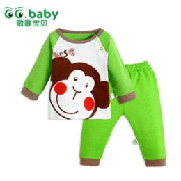 Barato Camisas Da China Calças-Recém-nascido shirt do macaco bonito Cotton Original Baby Boy Girl Clothes Set China Casual Outono Primavera Vestuário Desconto bebê terninho