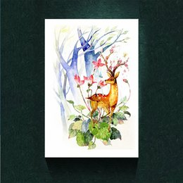 $enCountryForm.capitalKeyWord Australia - Watercolor Deer Abstract Canvas Prints Wall Art Home Decor Picture Unframed Colorful Painting Poster.