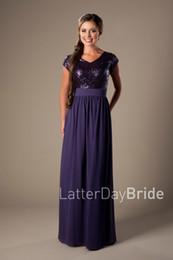 $enCountryForm.capitalKeyWord Canada - Purple Sequins Chiffon Long Bridesmaid Dresses Modest Cap Sleeve V neck Simple A-line Beach Rustic Formal Wedding Party Dresses Floor Length