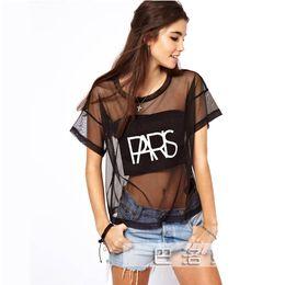 691f5fc08b253f New Women s Sheer Mesh T-shirt Short Sleeve PARIS Letters Print Club Party Shirts  Top Sexy Summer Black Tees Streetwear S-XL ZN
