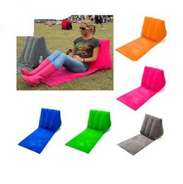 Wholesale 4 Colors cm Inflatable Pad Inflatable Beach Mat Outdoor Flocking Triangle Inflatable Pillow Cushions Outdoor Pads CCA7190