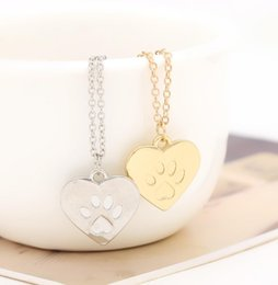 $enCountryForm.capitalKeyWord Canada - Valentine's Day Gift God of love Heart Paw Claw of Dog Kitty Cat Pendant Necklace Gold Silver Lovers Jewelry Women