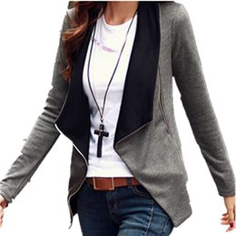 Barato Lapela Do Casaco-2016 New Spring Autumn Jacket Versão coreana Slim Turn Down Lapel Collar Side Zipper Coat Mulheres Cardigan chaquetas mujer Blusas