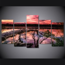 Lakes Canvas Sets Canada - 5 Panel HD Printed sunset sky clouds mountain lake Painting on canvas room decoration print poster picture canvas ocean painting set