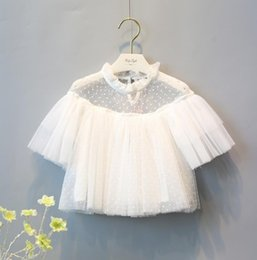 Chemises Blanches Blanches Pas Cher-Printemps Été Baby Girls Princess Lace Tulle Yarn Tops Chemise Ruffles Collar Kids Dots Blouse Enfants Chemises blanches 1939