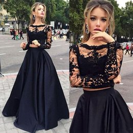 Barato Saias Elegantes Do Partido Formal-Black Two Piece Evening Dress Lace Applique A-Line Elegant Prom Dress Long Vestido formal de festa Saia de cetim manga longa vestidos festa
