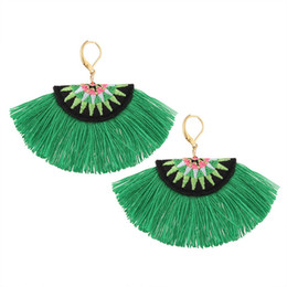 cotton tassels handmade UK - Bohemian Embroidery Fringe Earrings For Women Handmade Cotton Tassel Big Dangle Drop Earrings Ethnic Statement Jewelry
