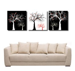 Leaf Oil Painting NZ - Home decoration unframed 3 Pieces free shipping Canvas Prints Abstract black and white oil painting withered tree bird branch leaf flower