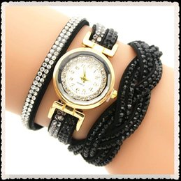 wrap watch wholesale 2019 - Multilayer Quartz Wrap Strap Leather Infinity Bracelet Bangle Rhinestone Diamond Women Girls Ladies Watch Wristwatches F