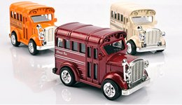 Toy Metal Bus NZ - Alloy Car Model Toy, Mini Double Bus, Vintage Car, High Simulation with Sound, Head Lights, Kid' Christmas Gifts,Collecting, Home Decoration