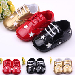 $enCountryForm.capitalKeyWord Canada - Wholesale- Classic Children Baby Kids Boy Girl Floor Shoes Autumn Fashion PU Stars Non-Slip Soft Toddlers First Walkers