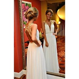 Gold Lace Peplum Dress Australia - Gold Lace White Deep V Neck Evening Dresses 2017 New Sleeveless A Line Chiffon Beaded Backless Formal Prom Dresses Party Gown Custom Made