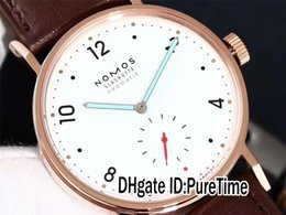 $enCountryForm.capitalKeyWord NZ - New NOMOS Glashutte Geschutztes Model Tangomat Automatic Rose Gold White Dial Date Mens Watch Leather Watches 16 Colors NM08b