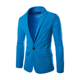 China Men Casual Blazers Cotton Coats Slim fit Royal Blue Brand Male Dress Suits cheap Jackets Blazers Plus Size costume homme cheap male royal costume suppliers
