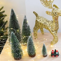 2017 hot of creative placed in the desktop merry xmas home decoration party with white cedar half hand half machine mini c - Half Christmas Trees