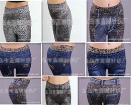 Look Sexy Jean Pas Cher-New Women Sexy Tattoo Jean Look Leggings Punk Sport Académies Habillement Jeans Impression sans soudure sans doublure Big yards ultra elastic 2
