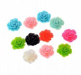 venda por atacado Cor Mista Acrílico Bead 10 / 20mm Rose Resina Beads Flatback Cabochon Scrapbook Fit Telefone Embelezamento Por Atacado Jóias Fazendo 150 pcs / lote