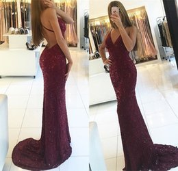 White shiny lace mermaid dress online shopping - Shiny Mermaid Burgundy Prom Dresses V neck Straps Backless Sequined Long Formal Dress Evening Gowns BA6854