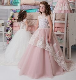 $enCountryForm.capitalKeyWord NZ - Beautiful Flower Girl Dresses Jewel Short Sleeves With Lace Applique A-Line Girl Cupcake Dresses Tiered Ruffle Custom Made Formal Party Gown