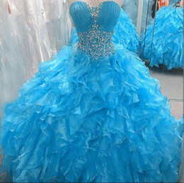 Perles D'image Personnalisées Pas Cher-2016 Nouvelle image réelle Light Blue Blue Quinceanera Robes Sweetheart Crystal Beads Ruffles Organza 16 Sweet Girls Prom Party Robes Custom Made