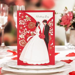 Hot Sale Wedding Invitation Cards Red Bridal And Groom Flora Print With Gold  Flora Free Personlized Print With Envelopes And Seals HP6218