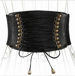 $enCountryForm.capitalKeyWord Canada - 20pcs Fashion PU Leather wide belts Women Waist Band Elastic Tied Waspie Cincher Corset Belt F378