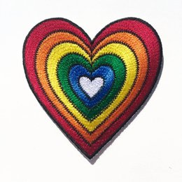 Wholesale Cute Cartoon Colorful Rainbow Heart Patch Iron On Or Sew On Embroidery Patch Multicolour Heart INCH