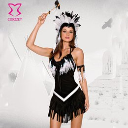 Costumes En Gros Taille Reine Pas Cher-Grossiste-Noir FlannelWhite plumes Tassels Indian Princesse Cosplay Costumes d'Halloween pour les femmes Plus Size Costume Carnaval Sexy