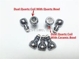 Chinese  Hot Sale Dual Quartz Wax Coil Quartz Bowl For Wax Glass Globe Bulb Atomizer Dual Quartz Replacement Coil Head VS Skillet Cannon tank manufacturers