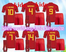 3a42f73741d TOP QUALITY 2018 World Cup Belgium Home red kids kit+socks Soccer jersey 17  18 away LUKAKU HAZARD VERMAELEN KOMPANY DE BRUYNE Football shirt
