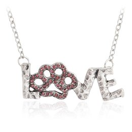 China Vintage Pink rhinestone Love Letters Paw Print Necklace Pet Memorial Jewelry Necklace for Dog Cat lover Animal Pendant Gifts suppliers