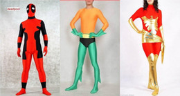 custom made costume deadpool UK - 3 Style Lycra zentai spandex cosplay catsuit red phoenix   Aquaman   deadpool