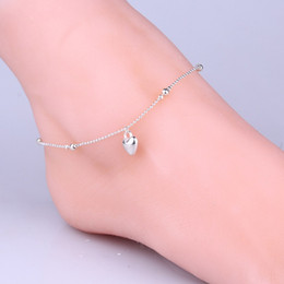 sterling silver anklet bracelets NZ - Beautiful heart bead Anklets Women Fashion Jewelry 925 Sterling Silver Snake Chain Bracelet High Quality Female Exquisite Anklets Trendy