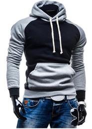 Wholesale xxl outerwear resale online – 2017 Autumn Fashion Contract Color Hoodies Sweatshirts Men Outerwear Hoodies Splicing Clothing Men Professional Suit XXL